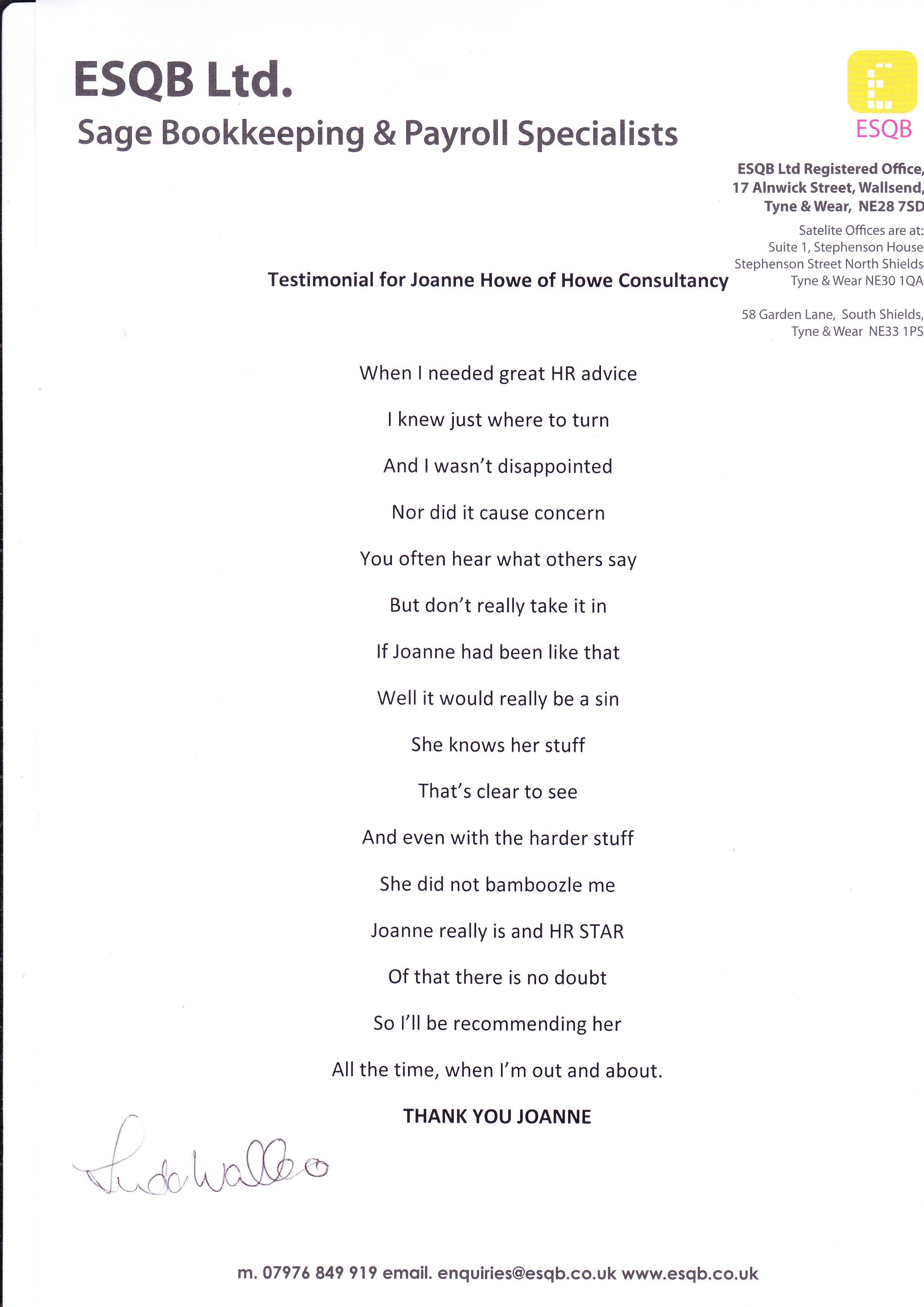 ESQB HR Support Testimonial
